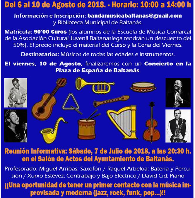 CONCIERTO DE LOS ALUMNOS Y PROFESORES  DEL PRIMER CURSO ESTIVAL- MUSICAL DE JAZZ EN BALTANÁS.
